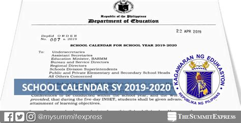 deped releases school calendar sy