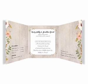 Rustic horizon tri fold wedding invitations loving for Tri fold wedding invitations with pictures