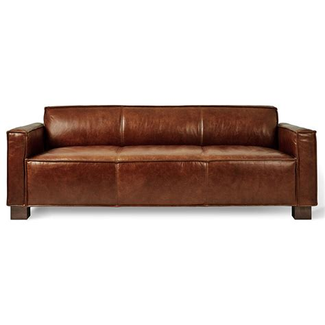 modern brown leather sofa gus cabot modern saddle brown leather sofa eurway