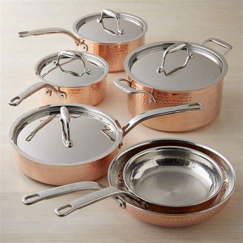 lagostina martellata hammered copper  piece cookware set  images pots  pans sets