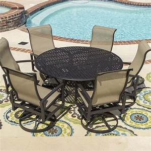 Acadia 7 piece sling patio dining set with swivel rockers for Round patio table sets