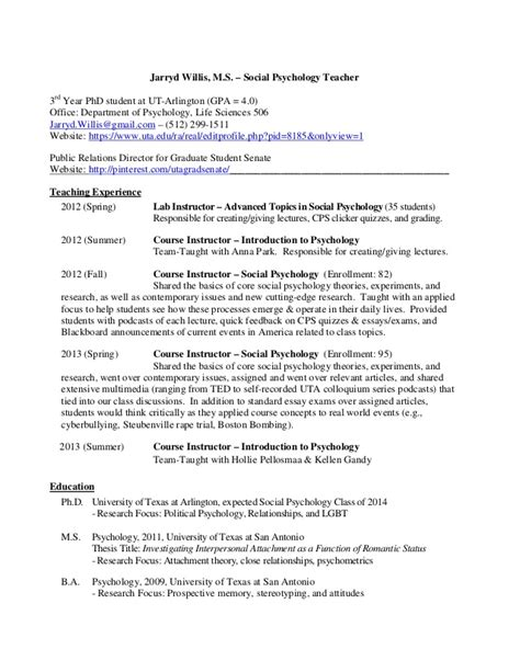 Psychology Students Resume by Jarryd Willis M S Cv 2013