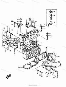 Kawasaki Jet Ski 1987 Oem Parts Diagram For Cylinder Head
