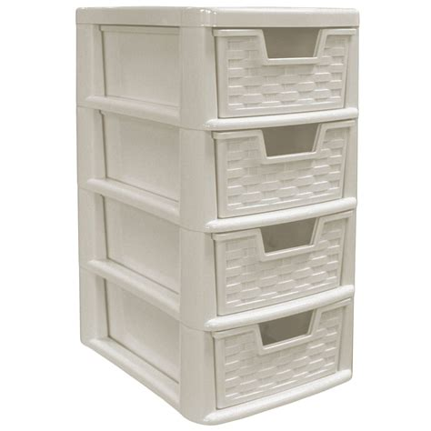 Rattan Style Plastic Small 4 Drawer Tower Storage Unit For