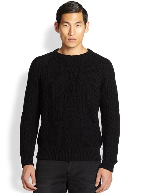 black sweater mcqueen skull cable knit sweater in black for