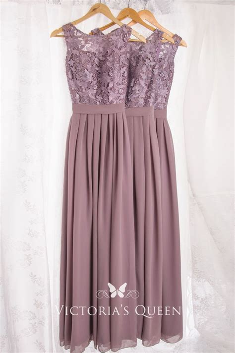 Mauve Lace And Chiffon Illusion Bateau Neck Long