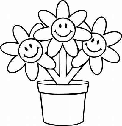 Flower Coloring Pot Cartoon Three Funny Pages