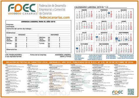 calendario laboral provincia tenerife fedeco canarias