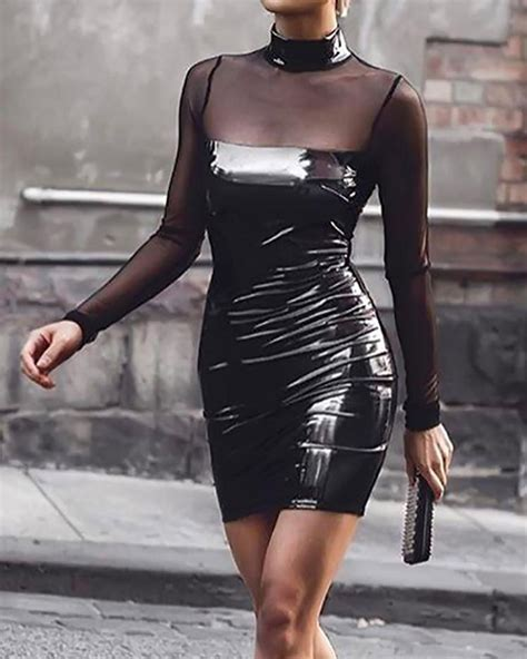 Sheer Mesh Patchwork Pu Bodycon Dress Ootd Clothes