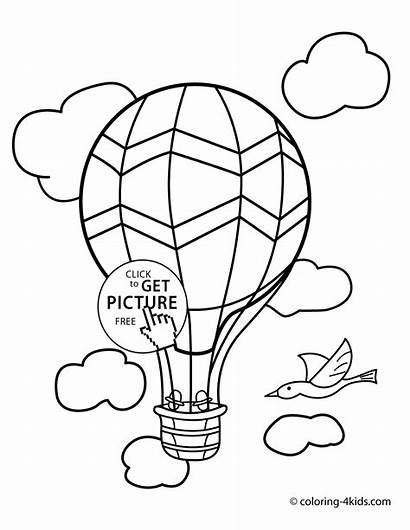 Transportation Coloring Pages Balloon Air Preschool Pdf