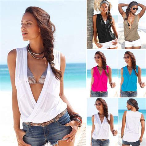 jepit rambut 5pcs baju pantai wanita sleeveless v neck shirt size s