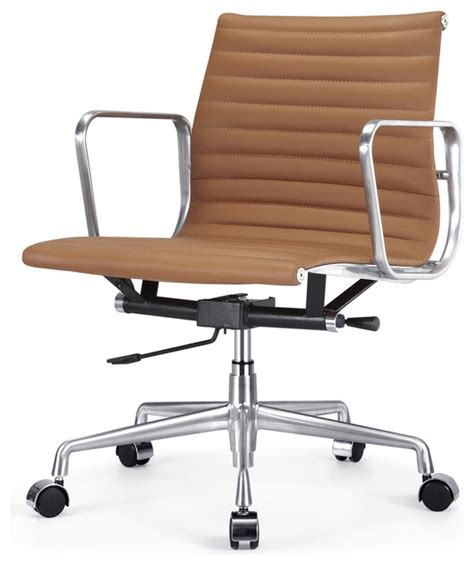 m341 eames style aluminum office chair in brown