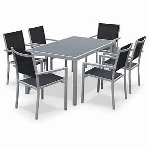 Table De Jardin En Aluminium : salon de jardin aluminium table 150cm 6 fauteuils en textil ne gris et alu blanc ~ Teatrodelosmanantiales.com Idées de Décoration
