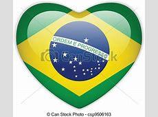 Vecteurs de brésil, coeur, drapeau, lustré, bouton