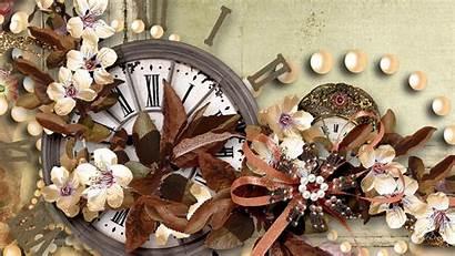 Fall Clock Retro Desktop Bows Wallpapers Backgrounds