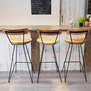 Industrial, Wood, Bar, Stool, With, Backrest, By, Za, Za, Homes