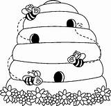 Clipart Clip Bee Beehive Bees Coloring Bw Daycare Carson Ces sketch template