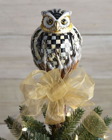 mackenzie childs courtly check owl christmas tree topper