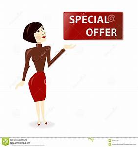 Woman With Special Offer Banner Royalty Free Stock Image ...