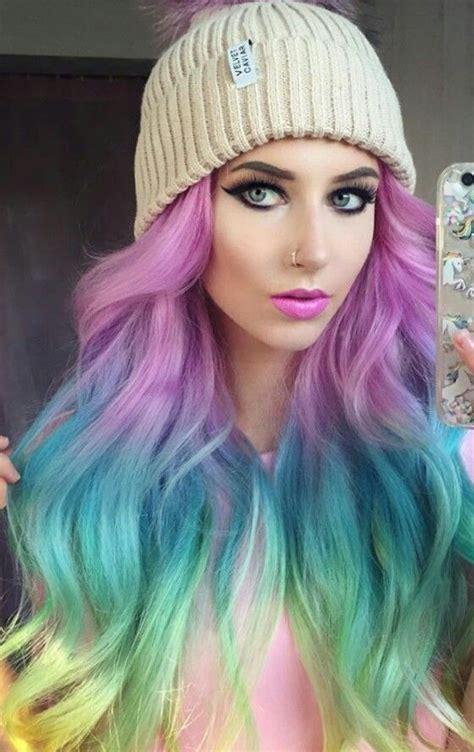 Rainbow Dyed Hair Color Colorful Hair Pelo De Colores