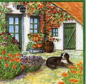 Haus Garten Shop : bernhardiner vor haus im garten hund sonjas servietten ~ Lizthompson.info Haus und Dekorationen