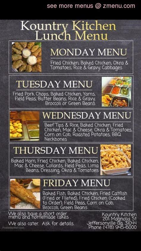 menu  kountry kitchen seafood restaurant