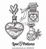 Potion Potions Magic Tattoo Vector Bottles Hand Drawn Coloring Illustration Draw Sketch Elegant Bottle Drawing Drawings Pages Doodle Wonderland Template sketch template