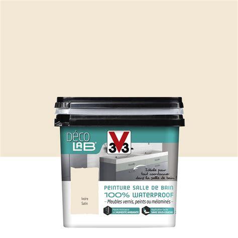 peinture cuisine v33 peinture décolab meuble salle de bain 100 waterproof v33 blanc ivoire 0 75 l leroy merlin