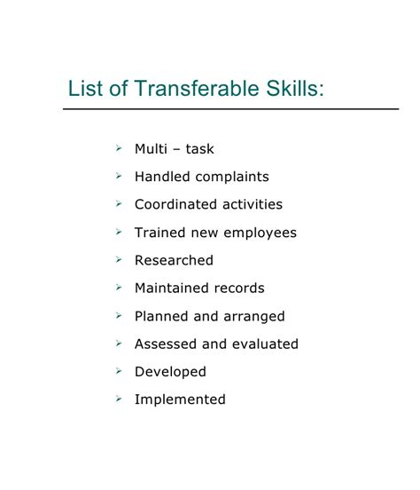 Transferable Skills Resume by Transferable Skills List Resume Images
