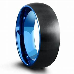 8mm domed black brushed tungsten ring with blue interior With mens wedding rings houston tx