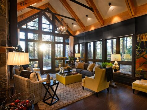 hgtv livingrooms grand a frame living room with forest views this spectacular rustic modern living room from the