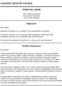 Resume To Be A Cashier