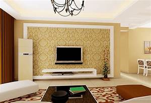living room interior design tv wall pastoral style With living room wall interior design