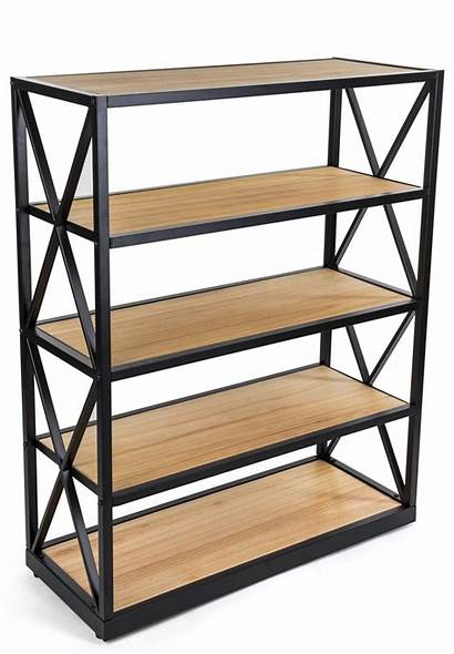 Industrial Bookcase Shelves Wood Rustic Solid