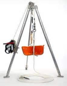 man riding tripods and bosun s chair concord lifting
