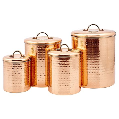 copper kitchen canisters hammered copper 4 canister set ebay