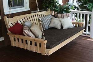 Outdoor 6 Foot Fanback Swing Bed  Unfinished Pine