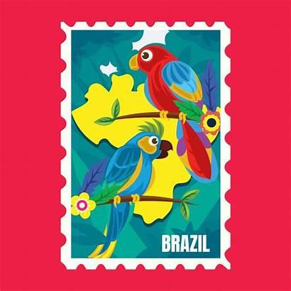 Brazil Stamp Postage Vector Postcard Edit