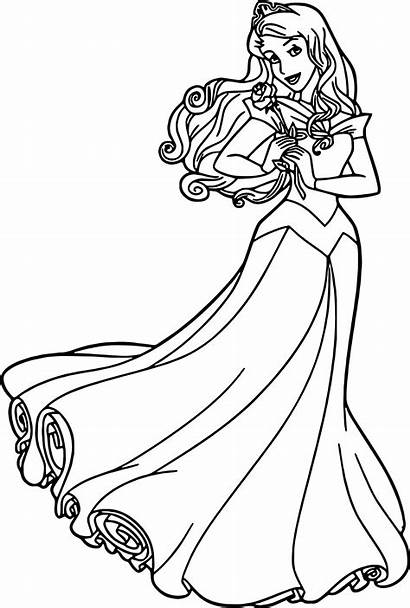 Coloring Aurora Rose Cartoon Princess Disney Printable