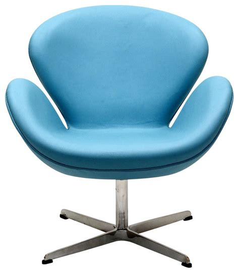 wing chair in aniline leather baby blue contemporary