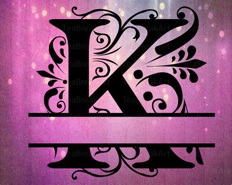 split regal monogram font alphabet svg eps  jpg dxf png