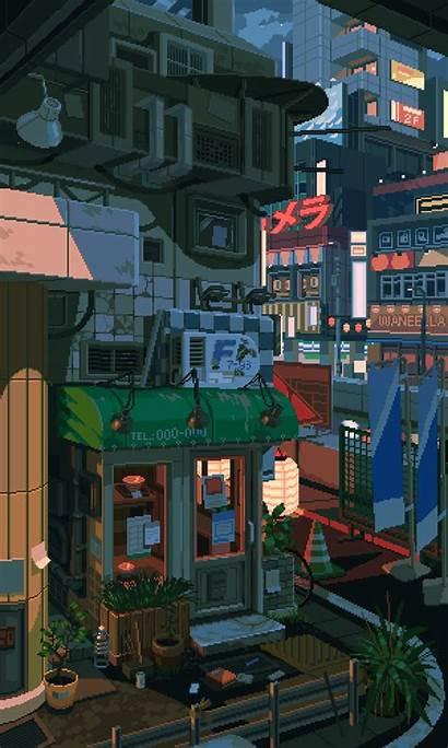 Pixel Waneella Aesthetic Anime Japan обои Scenery