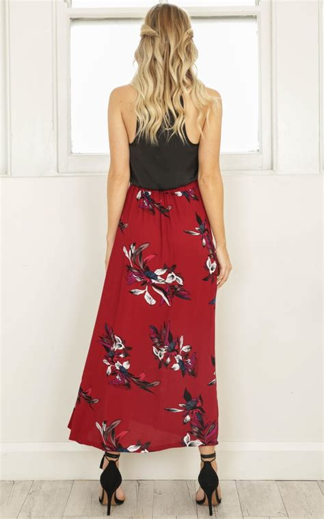 Kisses Dont Lie Maxi Skirt In Red Floral Showpo