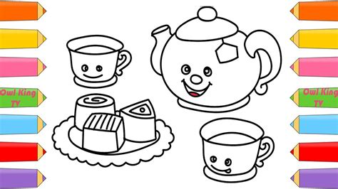 draw tea set chocolate finger family song