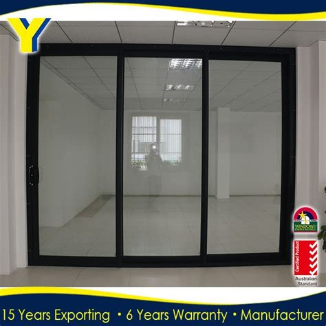 aluminium three panel sliding glass door double glazed