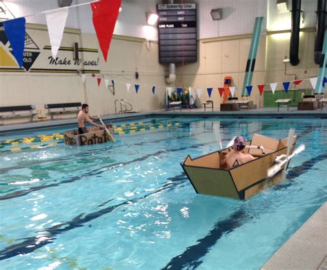 Cardboard Boat Project High School by Engineering Classes Race Cardboard Boats The Leaf