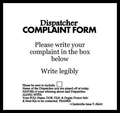 police dispatcher complaint form   police