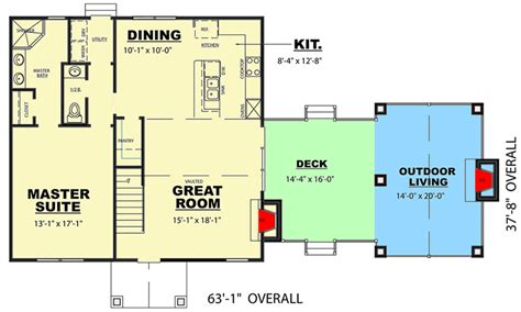outdoor living floor plans craftsman house plan with outdoor living space 94047ch