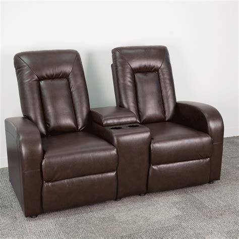 recliner with cup holder eclipse series 2 seat reclining brown leather theater