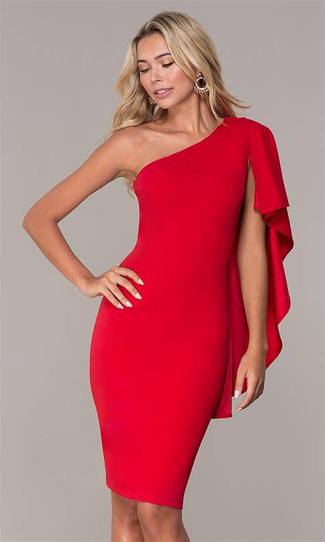 shoulder short red cocktail dress  simply